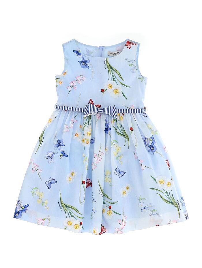 Dress with belt and botanical print