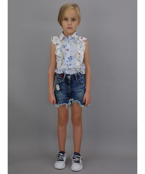 Poplin shirt with print and ruches