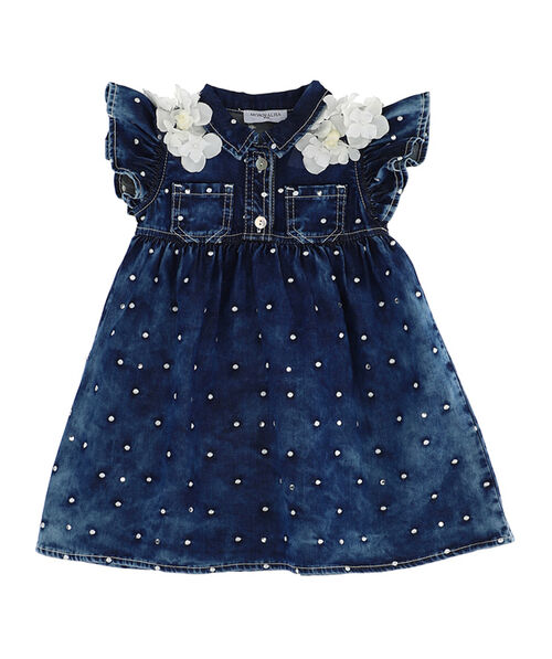 Polka dot embroidery jeans dress