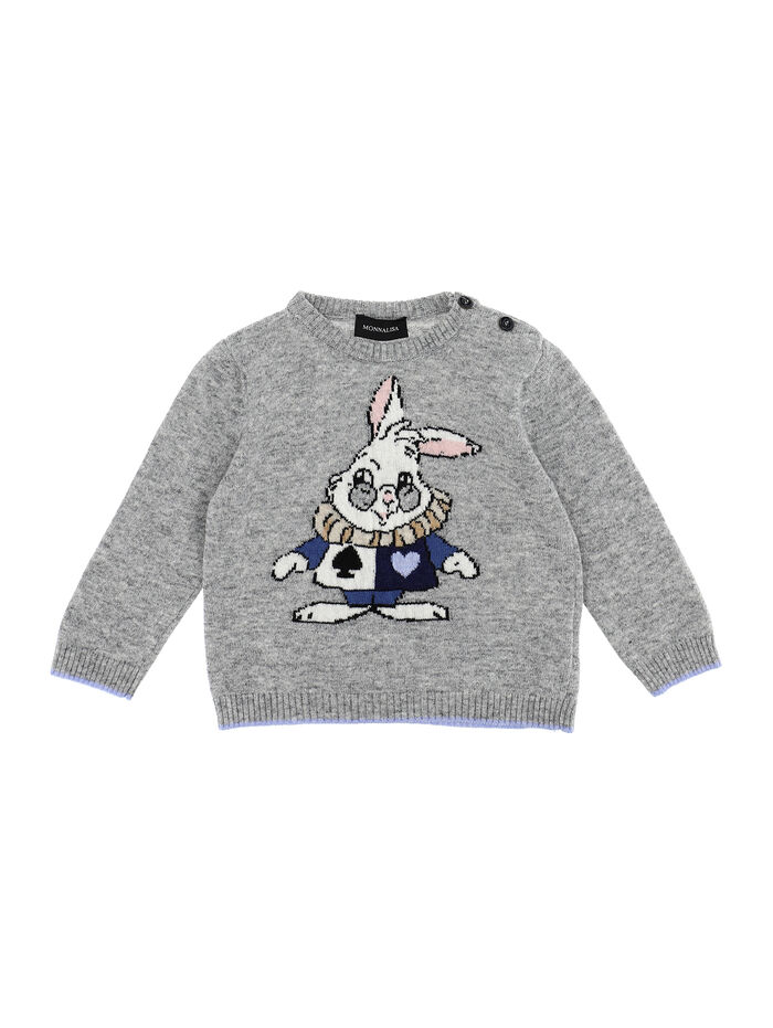 Cashmere blend sweater with inlay bunny