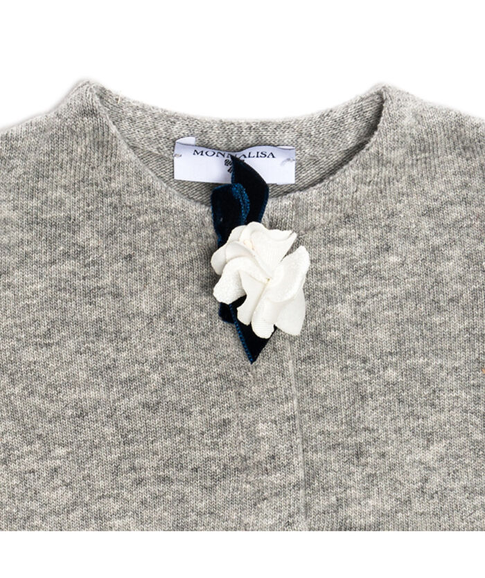 Cotton angora cardigan with a flower