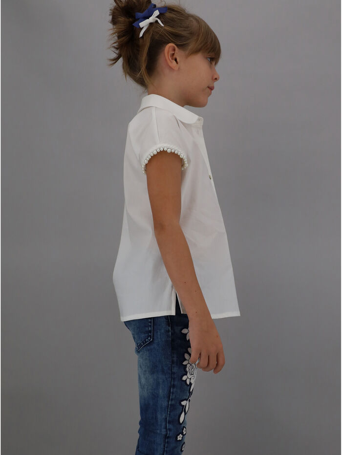 Poplin shirt with pearl beading