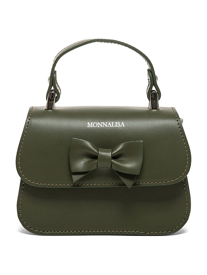Leather handbag with a bow
