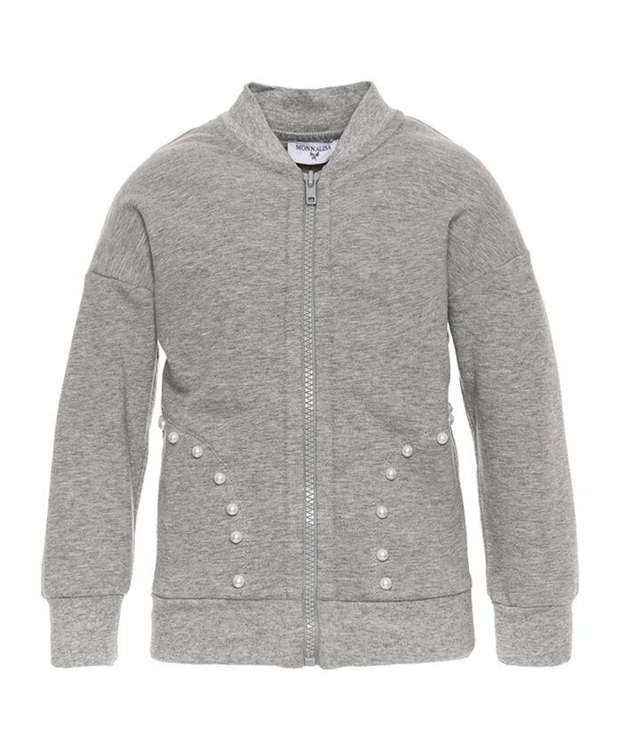 Open sweatshirt with pearls