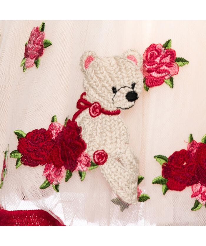 Abito ricamato rose ed orsetti