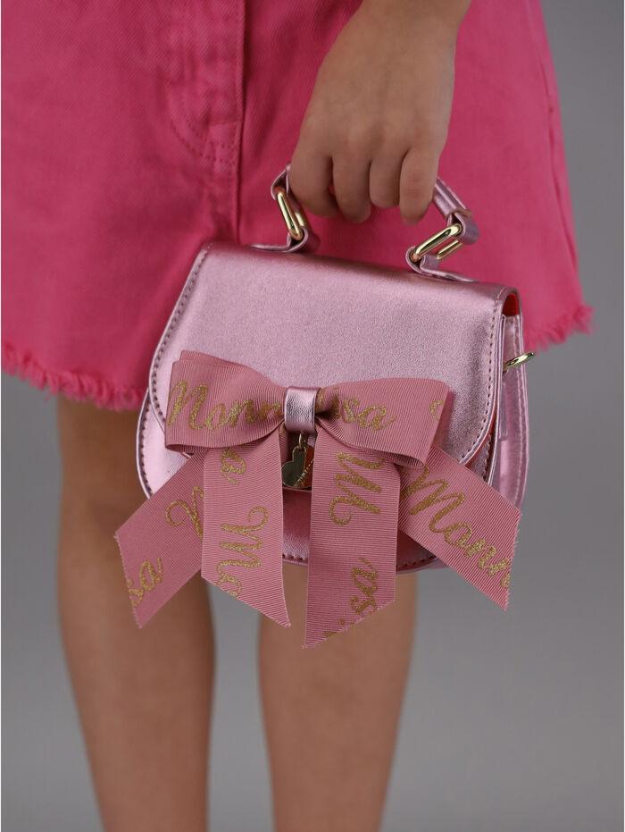 Laminate handbag with bow