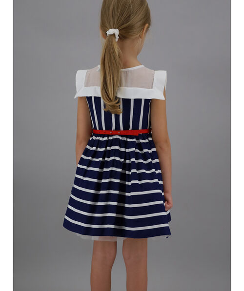 Striped dress with navy collar