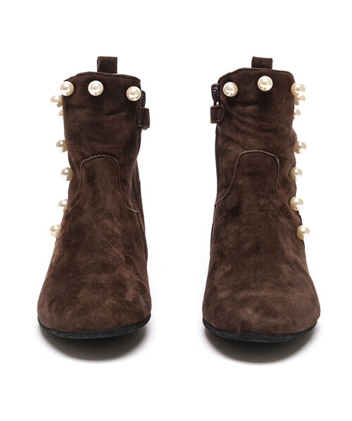 Suede ankle boots with beads