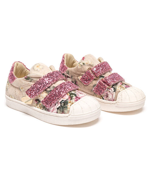 Chenille sneakers with glitter details