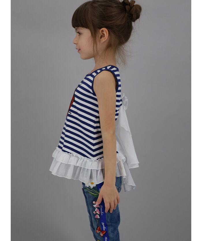 Striped vest with maxi rhinestones