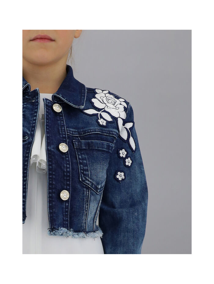 Denim jacket with roses