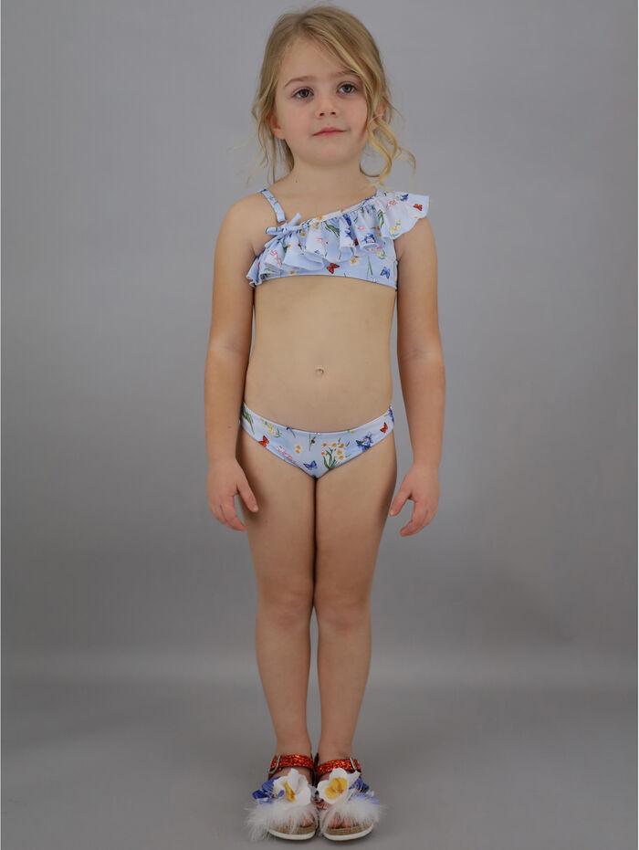 One shoulder bikini with ruffles