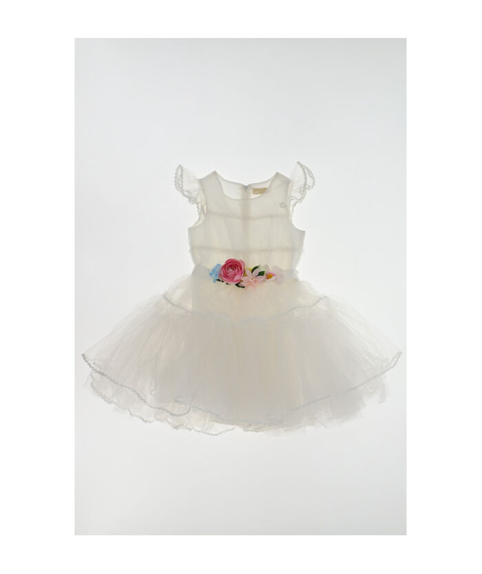 Tulle dress with floral belt