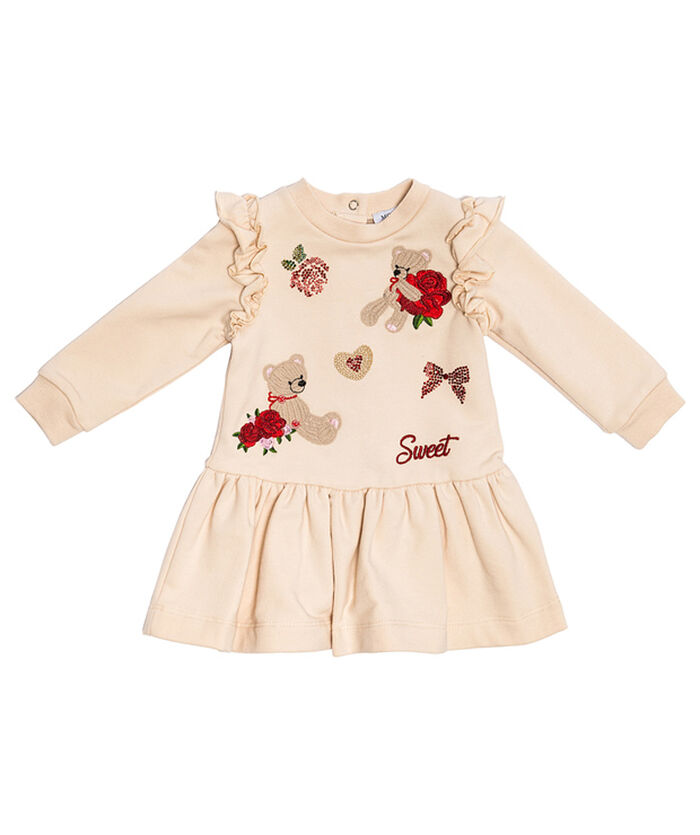 Sweatshirt fabric dress with embroidered designs