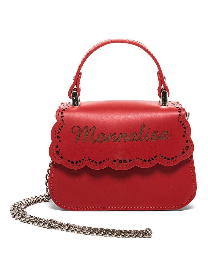 Broderie anglaise leather handbag