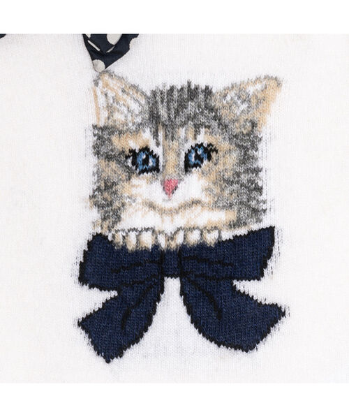 Sweater with kitten inlays