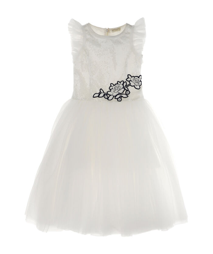 Tulle dress with sequins and leaf pattern