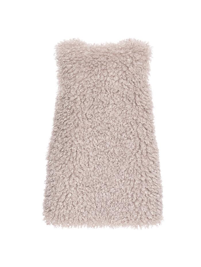 Long eco-fur vest