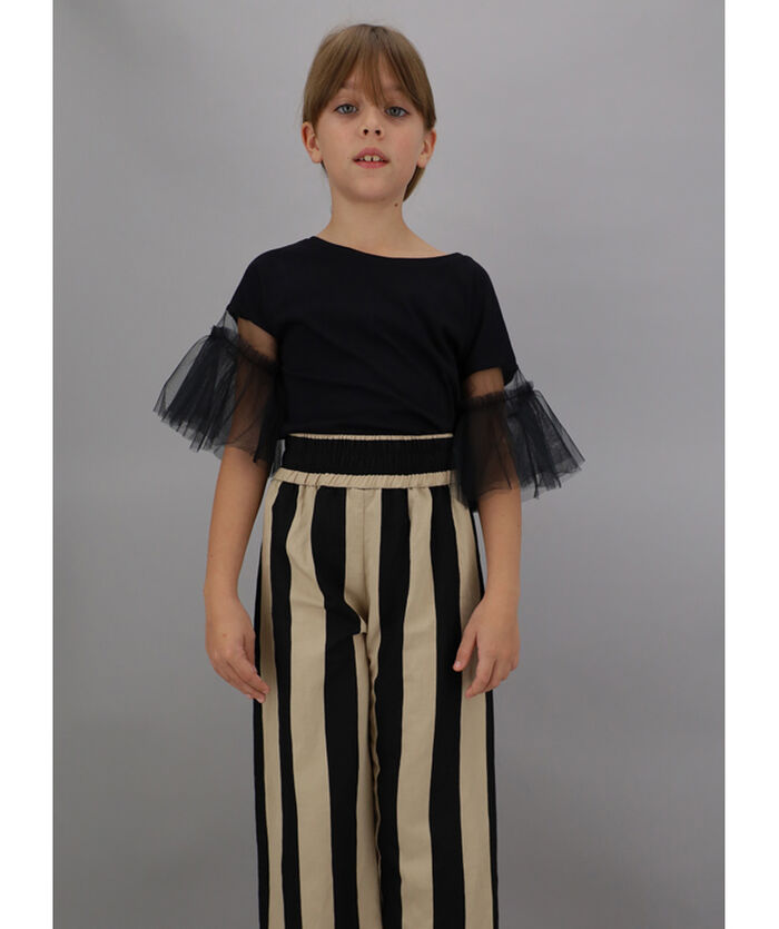 Jersey and tulle t-shirt