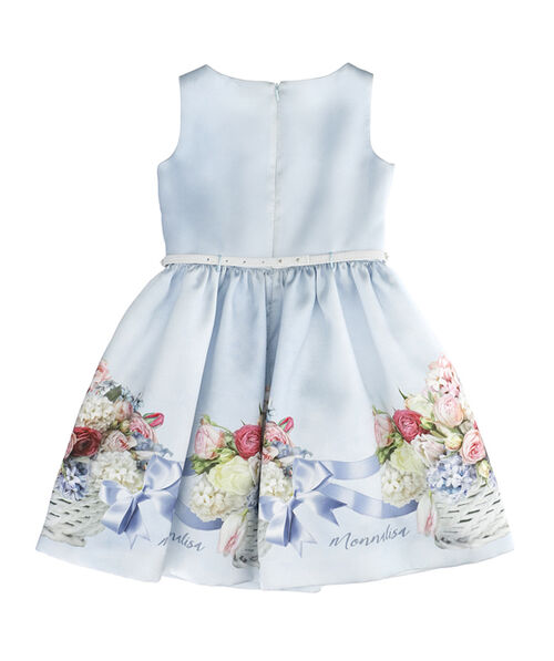 Bouquet and bow print Mikado dress