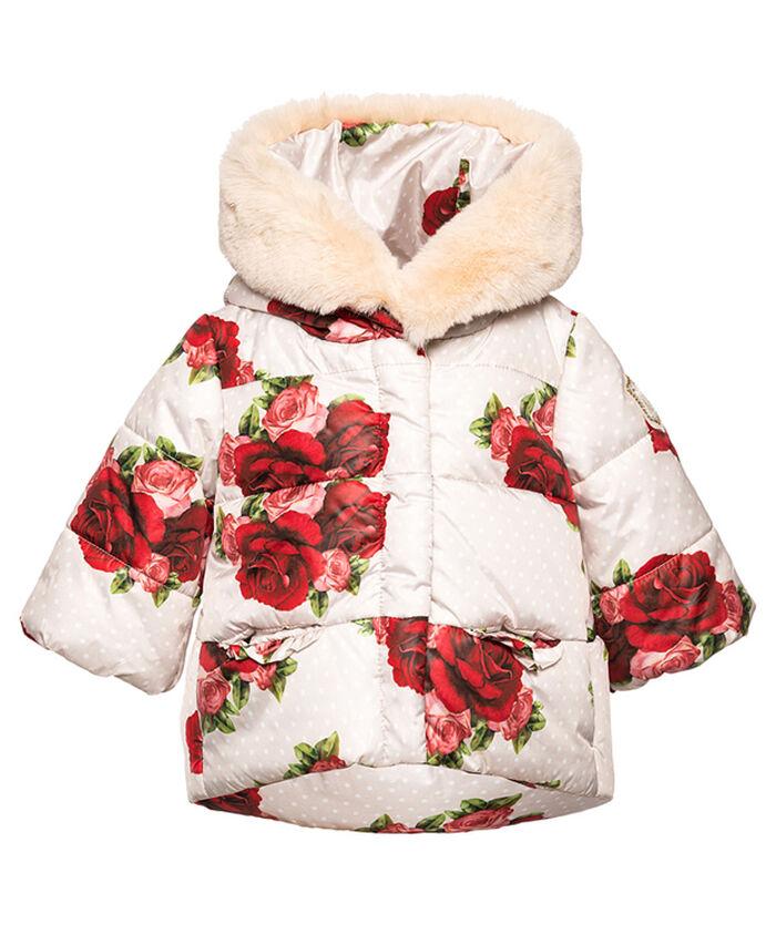 Fake fur coat with roses
