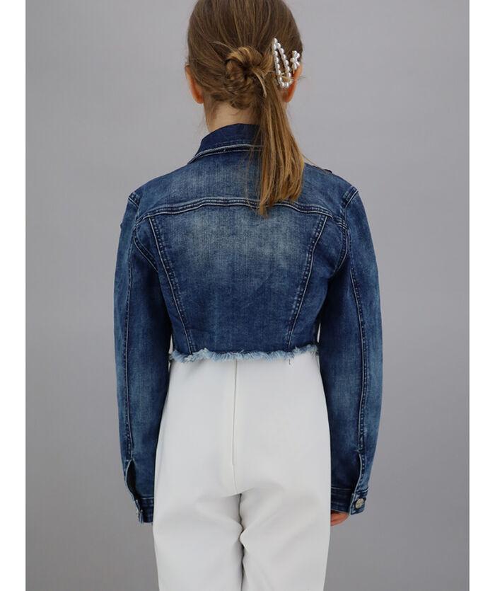 Denim jacket with roses