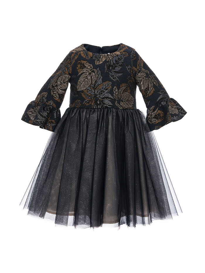Jacquard and tulle dress