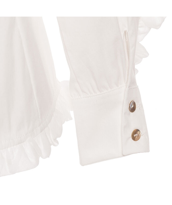 Poplin blouse with lace trimmings
