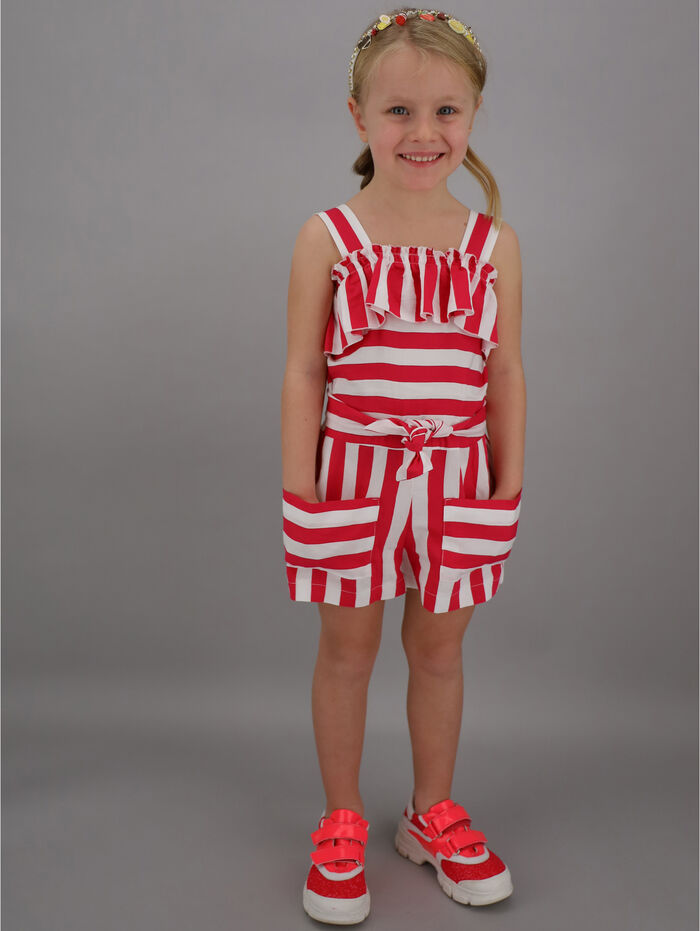 Jumpsuit with striped viscose shorts