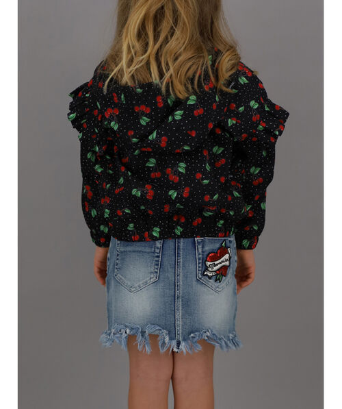 Nylon jacket with cherry print
