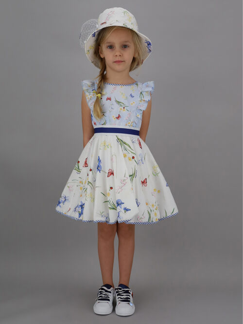Two-tone dress with botanical print