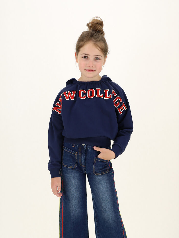 Cropped sweatshirt with college text