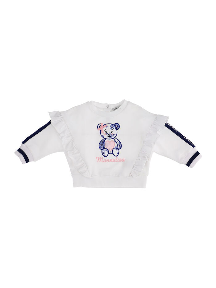 Sweatshirt with teddy bear and rouches