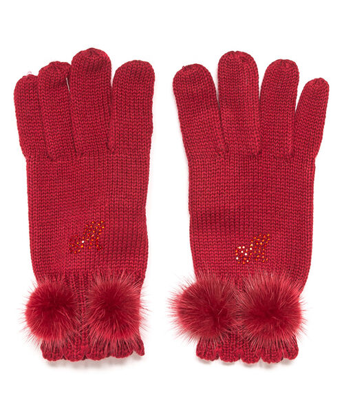 Wool gloves with pom poms