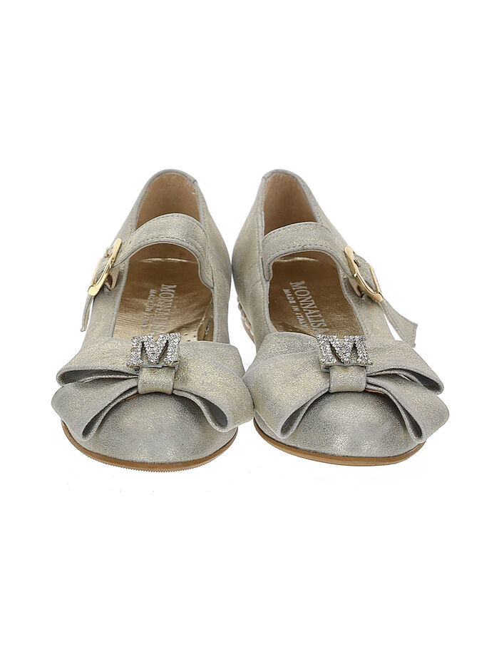 Ballet flats with bow and rhinestones