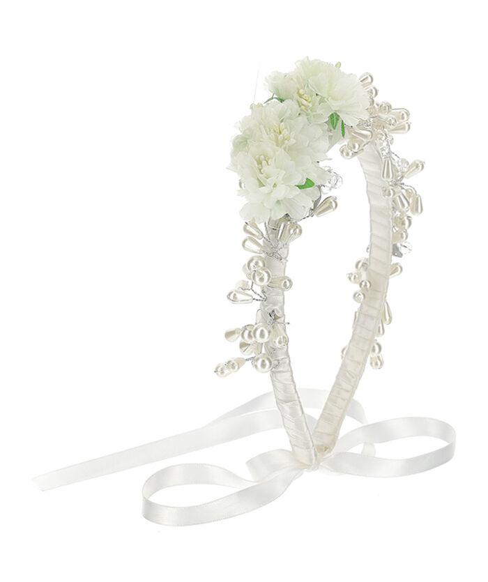 Headband tiara with flowers, pearls and rhinestones