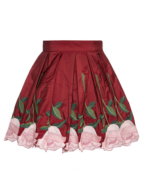 Tulle and taffeta skirt with roses
