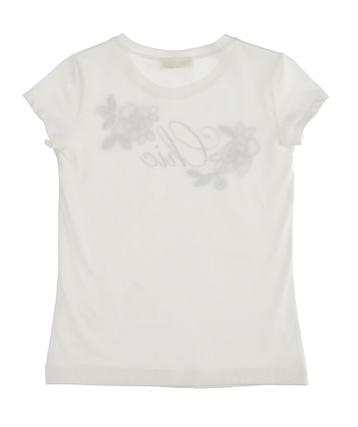 Jersey t-shirt with rhinestones and patches