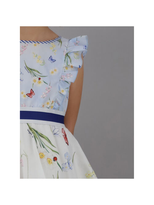 Two-tone dress with botanical print