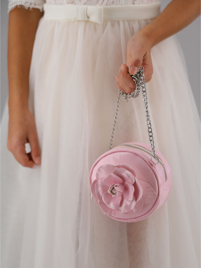 Round eco patent leather bag