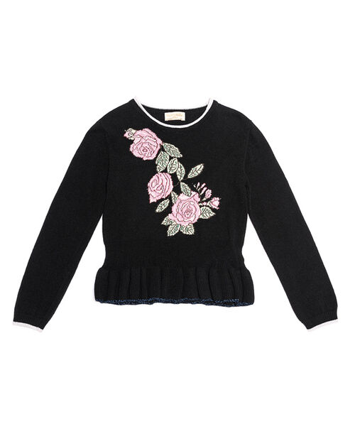 Pullover with inlays and roses