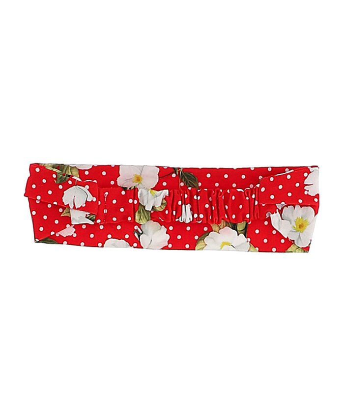 Baby headband, jersey with flowers and polka dots