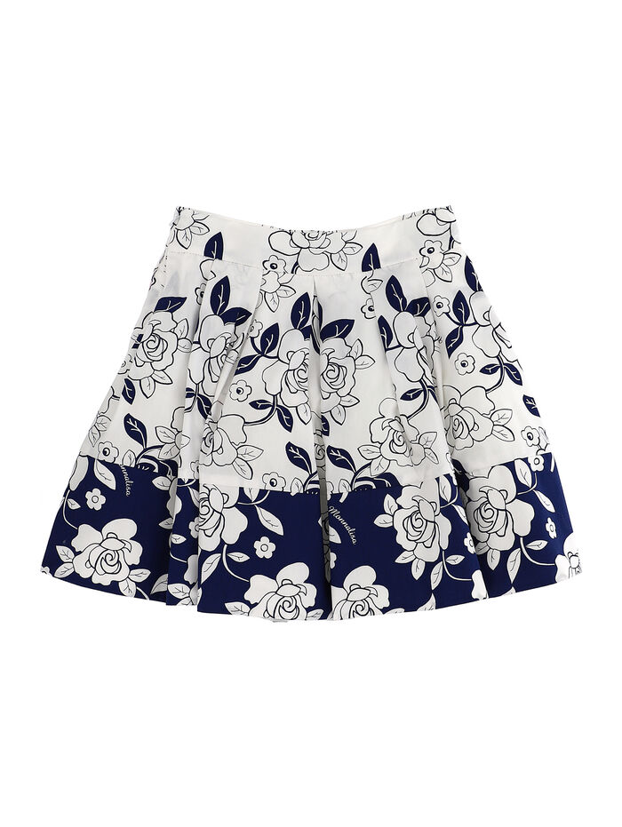 Two-tone printed skirt