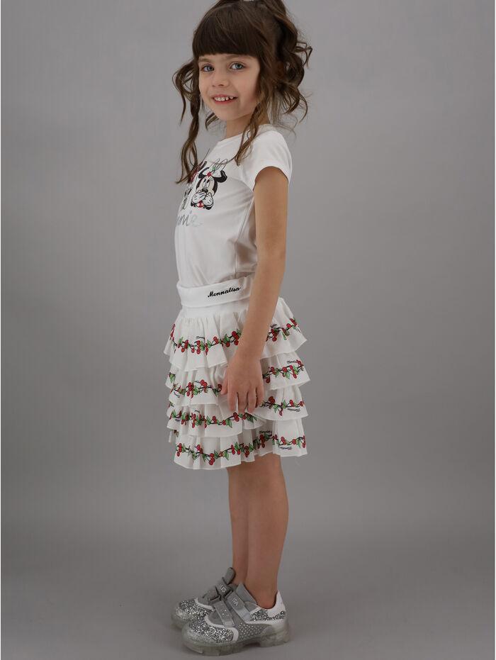 Skirt with printed flounce