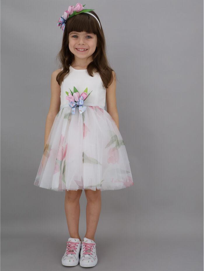 Sleeveless dress w/ printed tulle skirt