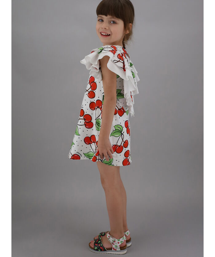 Trapeze line dress with cherry print