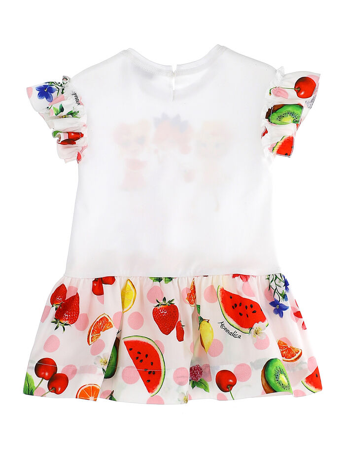 Cotton dress with fruit print flounce