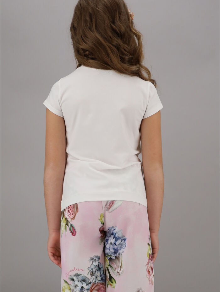 Jersey t-shirt with bouquet print