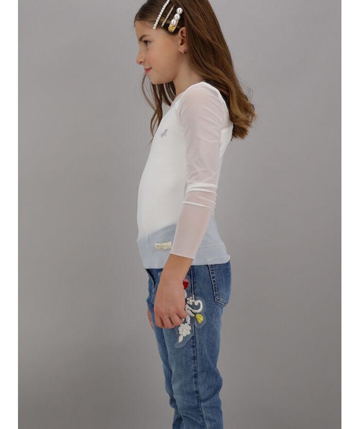 Long-sleeved tulle t-shirt