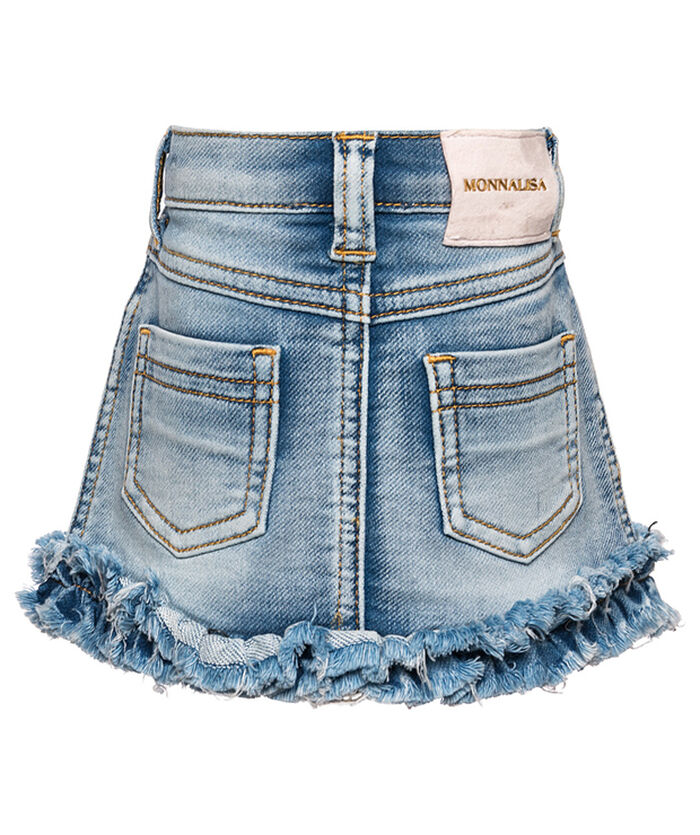Jean skirt with ruffles